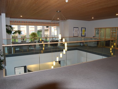 Frameless glass balustrade with timber handrail. Manufactured by Eagledale in Coventry.