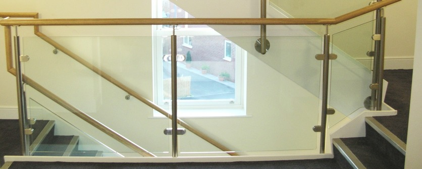 Stainless steel and glass stair balustrade.